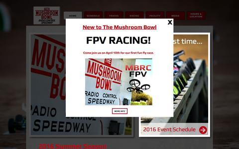 Screenshot of Home Page mushroombowl.com - The Mushroom Bowl | RC Racetrack & Hobby Shop - captured June 17, 2016