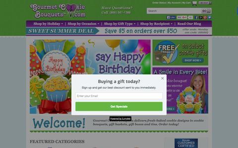 Screenshot of Home Page gourmet-cookie-bouquets.com - Gourmet Cookie Bouquets | Edible Bouquet Arrangements | Design Cookies - captured June 8, 2016