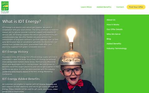 Screenshot of idtenergy.com - IDT Energy | About Us | History | Added Benefits - captured Oct. 2, 2015