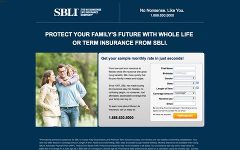 Screenshot of Landing Page sbli.com - Great reates on term life insurance - captured Oct. 27, 2014