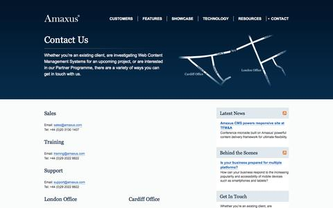 Screenshot of Contact Page amaxus.com - Amaxus Web CMS: Contact Details for Content Management Enquiries - captured Sept. 30, 2014