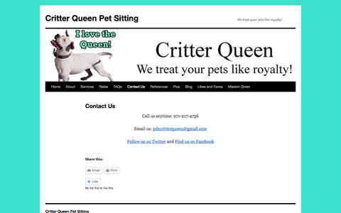Screenshot of Contact Page critterqueen.com - Contact Us | Critter Queen Pet Sitting - captured Sept. 30, 2014