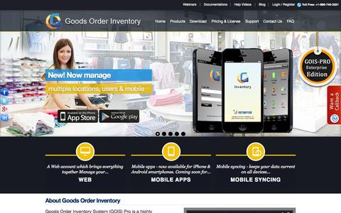 Screenshot of Home Page goodsorderinventory.com - Inventory Management System | Inventory Management Software - captured Oct. 6, 2014