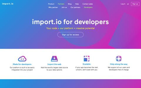 Screenshot of Developers Page import.io - import.io for Developers - Restful Web Scraping APIs and More - captured March 30, 2016