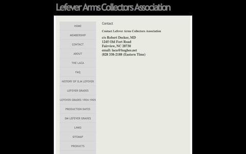 Screenshot of Contact Page lefevercollectors.com - Contact » Lefever Arms Collectors Association - Guns of Lasting Fame - captured June 10, 2016