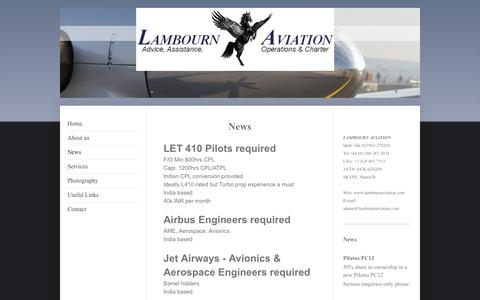 Screenshot of Press Page lambournaviation.com - News - Lambourn Aviation - captured Sept. 29, 2014