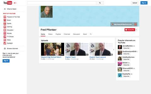 Screenshot of YouTube Page youtube.com - Fred Pflantzer  - YouTube - captured Oct. 26, 2014