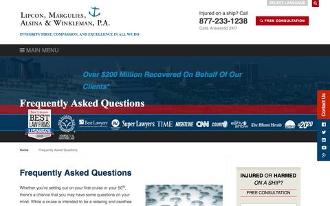 Screenshot of FAQ Page lipcon.com - Maritime Attorney Answers Frequently Asked Questions - captured Sept. 14, 2018
