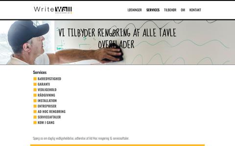 Screenshot of Services Page writewall.dk - Services | WriteWall - captured Oct. 20, 2018