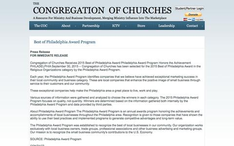 Screenshot of Press Page congregationofchurches.org - News Release - captured Jan. 28, 2016