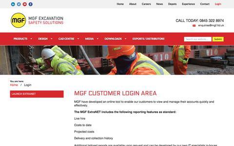 Screenshot of Login Page mgf.ltd.uk - Login | MGF Excavation Safety Solutions - captured Sept. 30, 2017