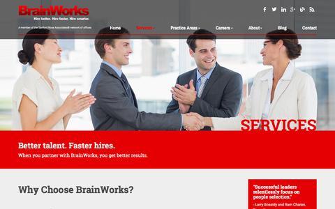 Screenshot of Services Page brainworksinc.com - CEO Recruitment & Relationship Marketing Management - captured Feb. 8, 2016