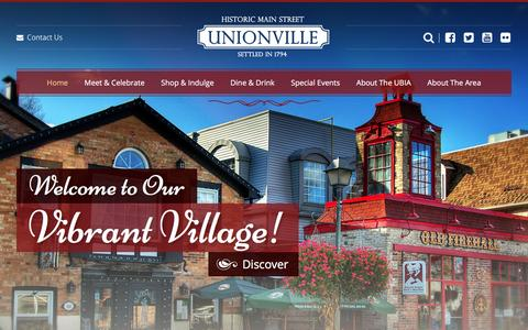 Screenshot of Home Page unionvilleinfo.com - Home | Unionville Settled in 1794 | 2016 - captured Feb. 26, 2016