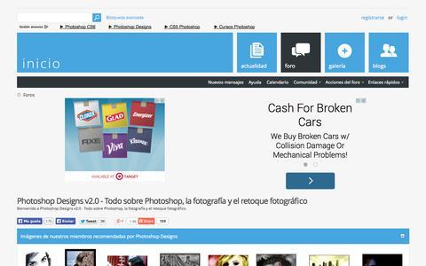 Screenshot of Home Page photoshop-designs.com - Photoshop Designs v2.0 - Todo sobre Photoshop, la fotografía y el retoque fotográfico - captured Sept. 22, 2014