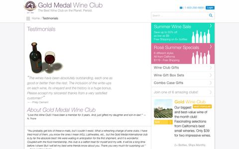 Screenshot of Testimonials Page goldmedalwineclub.com - Wine Club Reviews for Gold Medal's Wine of the Month Clubs - captured July 20, 2018