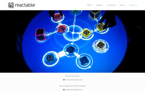 Screenshot of Contact Page reactable.com - Contact Us -Music Knowledge Technology - captured Oct. 18, 2018