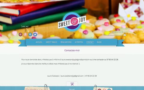 Screenshot of Contact Page sweetandjoy.com - Contact pour vos événements - Sweet&Joy - captured Oct. 6, 2014