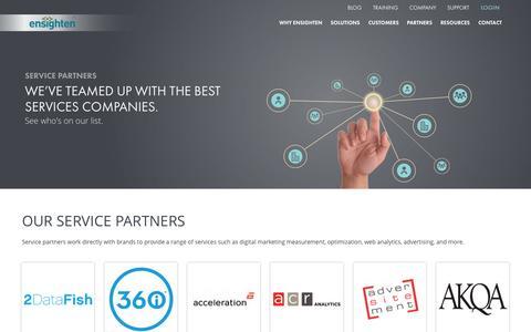 Screenshot of ensighten.com - Ensighten Service Partners | Top-Level Marketing Companies - captured June 16, 2015