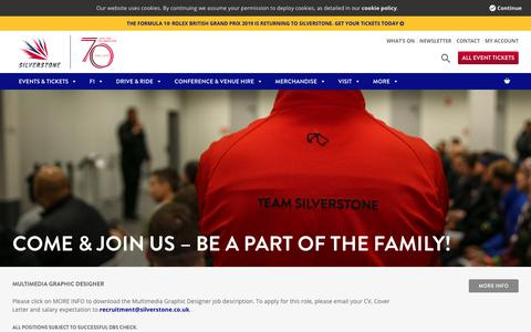 Screenshot of Jobs Page silverstone.co.uk - Come & join the Silverstone family - jobs at Silverstone - captured Oct. 24, 2018