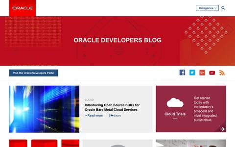 Screenshot of Developers Page oracle.com - Oracle Blogs | Oracle Developers Blog - captured March 9, 2017