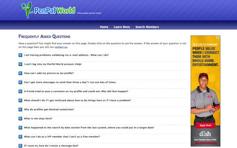 Screenshot of FAQ Page penpalworld.com - Frequently Asked Questions - PenPal World - captured Sept. 23, 2014
