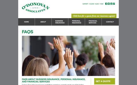 Screenshot of FAQ Page odonovaninsurance.com - FAQs – O'Donovan Insurance - captured Feb. 22, 2016