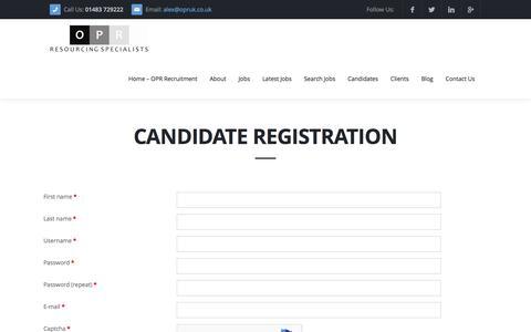 Screenshot of Signup Page recruitmentagencyopr.com - OPR | Candidate Registration - OPR - captured Dec. 3, 2016