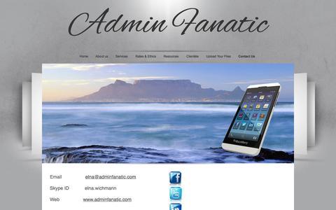 Screenshot of Contact Page adminfanatic.com - Admin Fanatic - captured Sept. 30, 2014