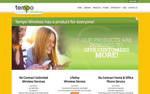 Screenshot of Products Page tempowireless.com - Tempo Wireless - captured Nov. 2, 2014