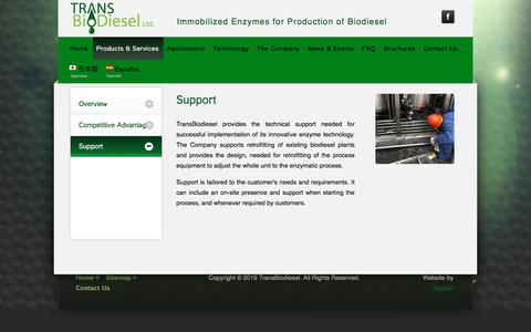 Screenshot of Support Page transbiodiesel.com - Enzymatic biodiesel|Fatty acid ethyl ester - Transbiodiesel - captured May 9, 2017