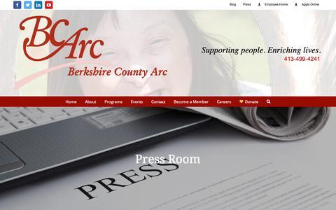 Screenshot of Press Page bcarc.org - BCArc - Press - - captured Oct. 10, 2017