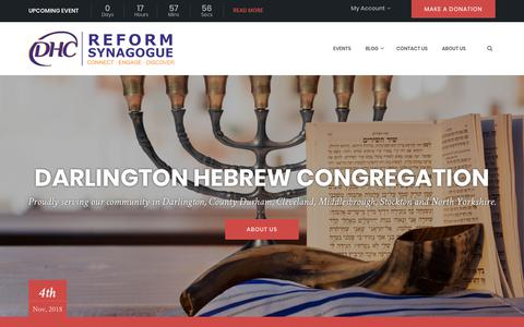 Screenshot of Home Page dhcreform.org - Darlington Hebrew Congregation - Reform Synagogue בית שלום - captured Nov. 3, 2018
