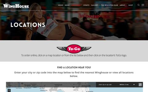 Screenshot of Locations Page winghouse.com - Locations |  The Winghouse Bar and Grill - captured Nov. 13, 2016