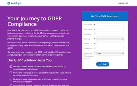 Screenshot of Landing Page metalogix.com - Solution Consultation for GDPR Compliance | Metalogix - captured July 22, 2018