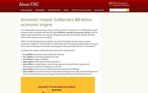 Screenshot of usc.edu - Economic Impact: California's $8 billion economic engine | About USC - captured May 20, 2017