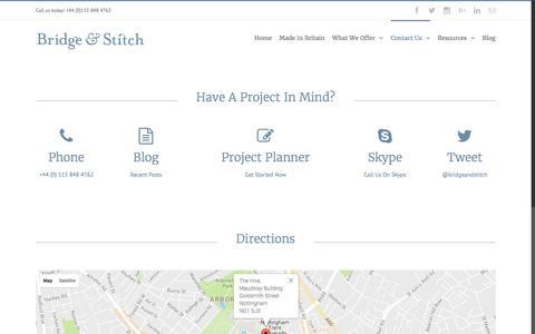 Screenshot of Maps & Directions Page bridgeandstitch.com - Contact Page 2016 – Bridge & Stitch - captured Nov. 23, 2016