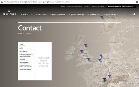 Screenshot of Contact Page trafigura.com - Contact | Trafigura - captured Oct. 7, 2014