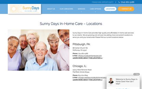 Screenshot of Locations Page sunnydaysinhomecare.com - In Home Health Care for Seniors and Disabled Adults | Pittsburgh, PA - captured Oct. 25, 2017