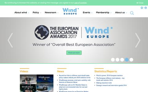 Screenshot of Home Page windeurope.org - WindEurope - the voice of the wind energy industry - captured May 4, 2017