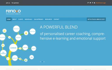 Screenshot of Home Page renovo.uk.com - Outplacement services and career transition support - Renovo - captured Oct. 8, 2014