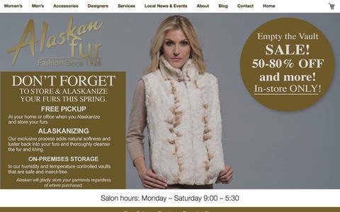 Screenshot of Home Page alaskanfur.com - Kansas City Furrier | Fur Coats | Leather Coats | Fur Restyling - captured July 25, 2016