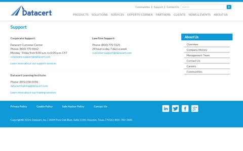 Screenshot of Support Page datacert.com - Datacert corporate and law firm support and training services contact info - captured July 20, 2014