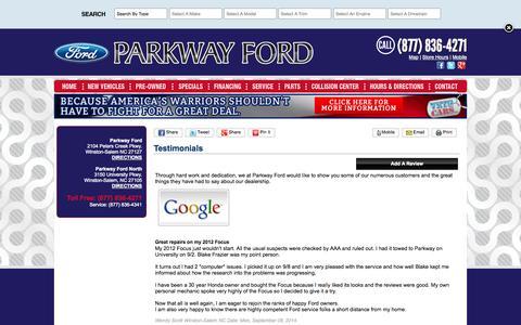 Screenshot of Testimonials Page parkwayford.com - Parkway Ford Winston-Salem NC Dealership Testimonials - captured Oct. 1, 2014