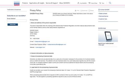 Screenshot of Privacy Page qiagen.com - QIAGEN - Privacy Policy - captured Nov. 25, 2019
