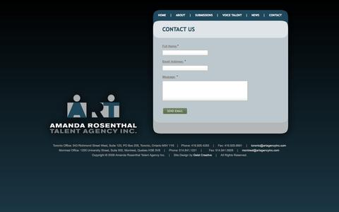 Screenshot of Contact Page artagencyinc.com - Amanda Rosenthal | Talent Agency Inc. - captured Oct. 1, 2014