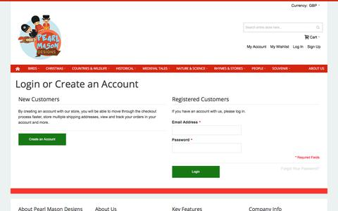 Screenshot of Login Page pearlmason.co.uk - Customer Login - captured July 18, 2017