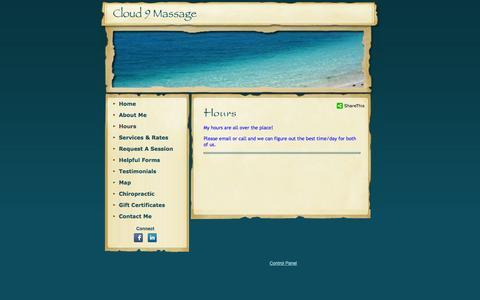 Screenshot of Hours Page cloud9massage.com - Cloud 9 Massage - captured Sept. 30, 2014