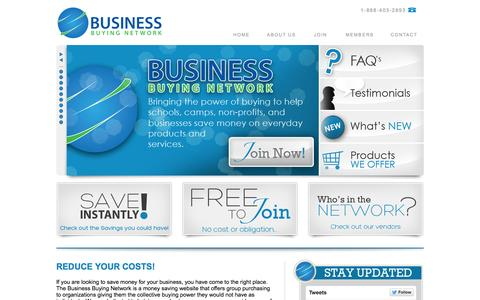 Screenshot of Home Page bbnsavings.net - Business Buying Network | Welcome - captured Oct. 1, 2014