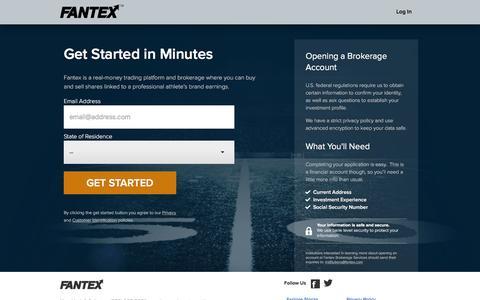 Screenshot of Signup Page fantex.com - Fantex: Signup and start investing today - captured Dec. 4, 2015