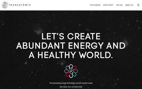 Screenshot of Home Page transatomicpower.com - Homepage - Transatomic - captured Aug. 11, 2015